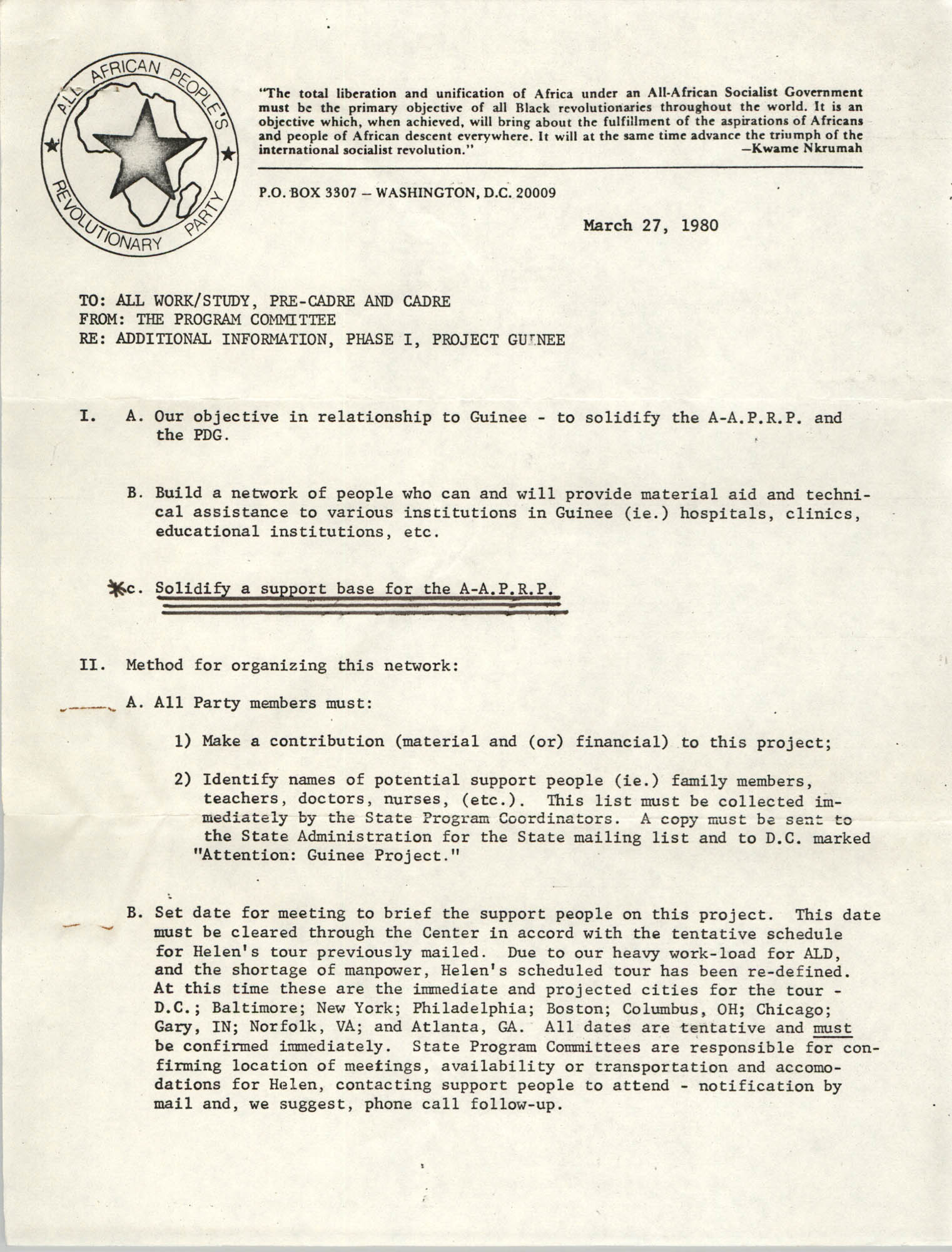 All African People's Revolutionary Party Memorandum, March 27, 1980