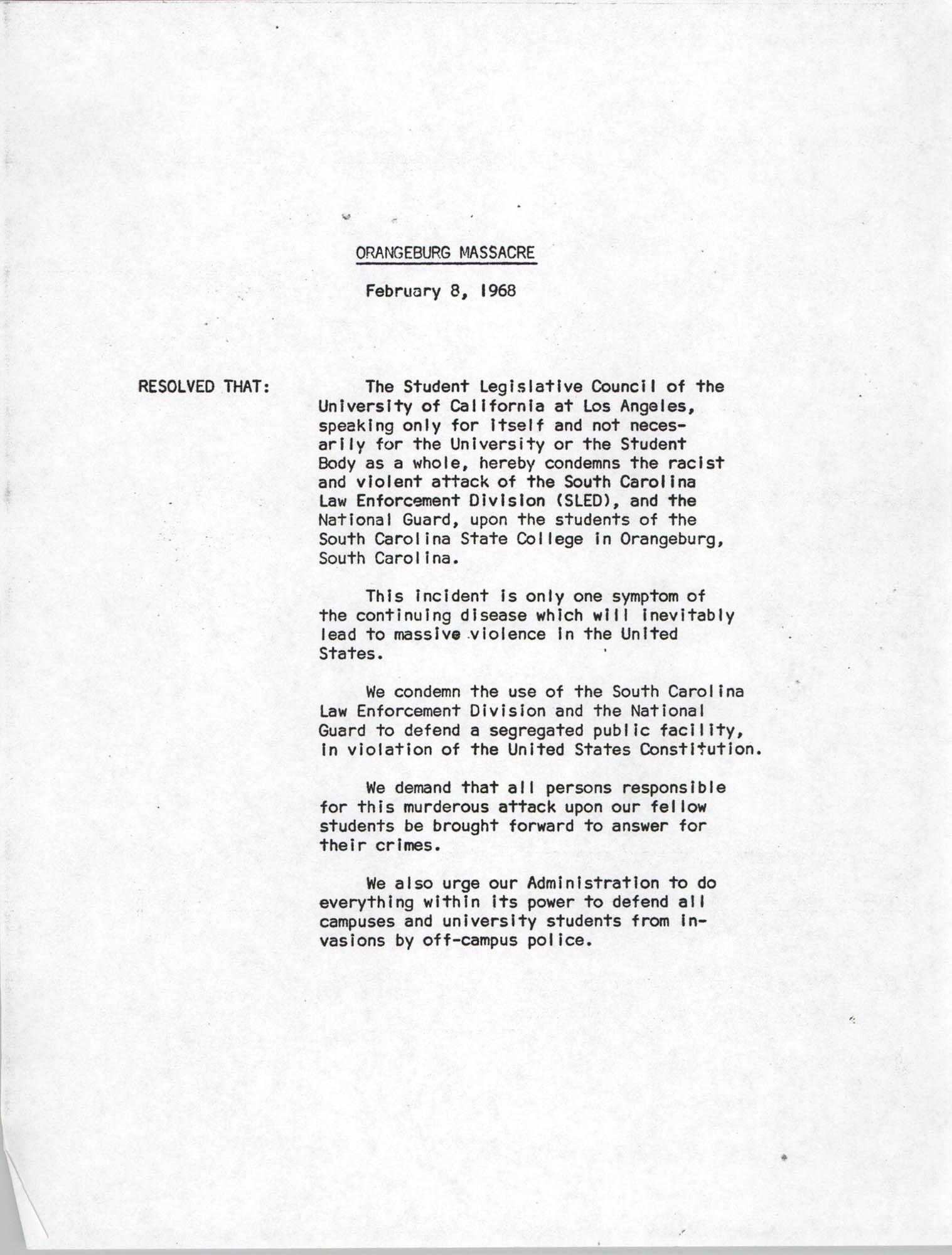 Orangeburg Massacre Resolution
