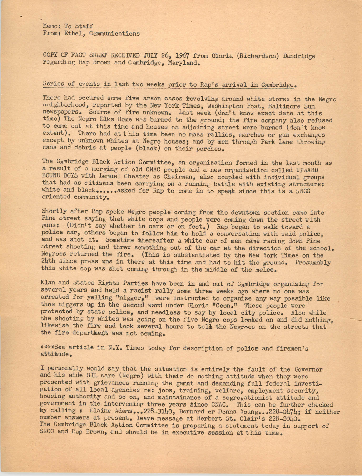 Memorandum regarding Rap Brown, July 26, 1967