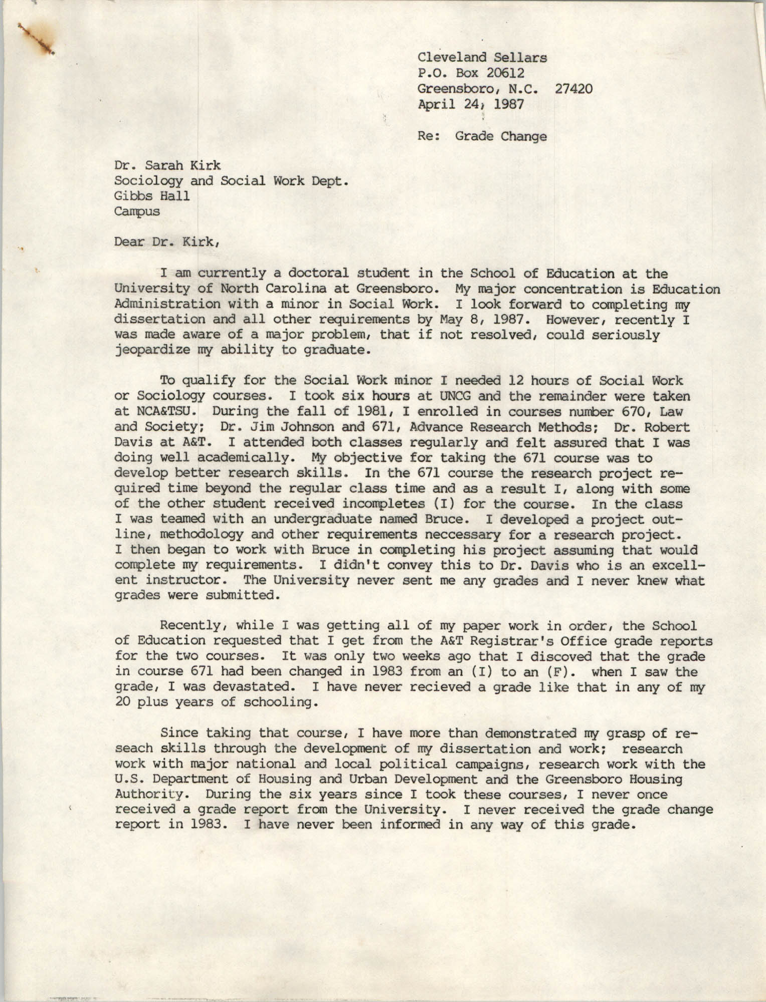 Letter from Cleveland Sellers to Sarah Kirk, April 24, 1987