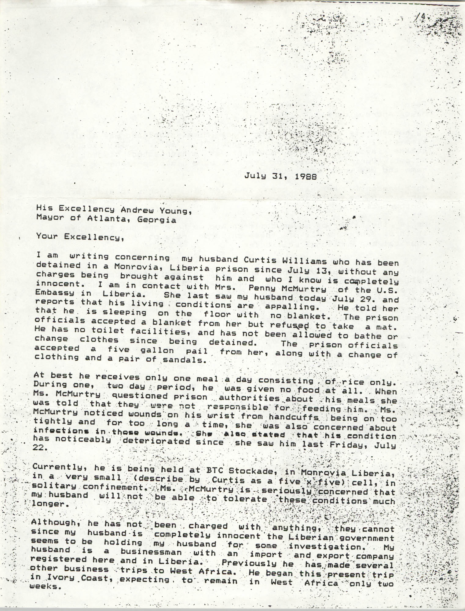 Letter from Gwendolyn Williams to Andrew Young, July 31, 1988