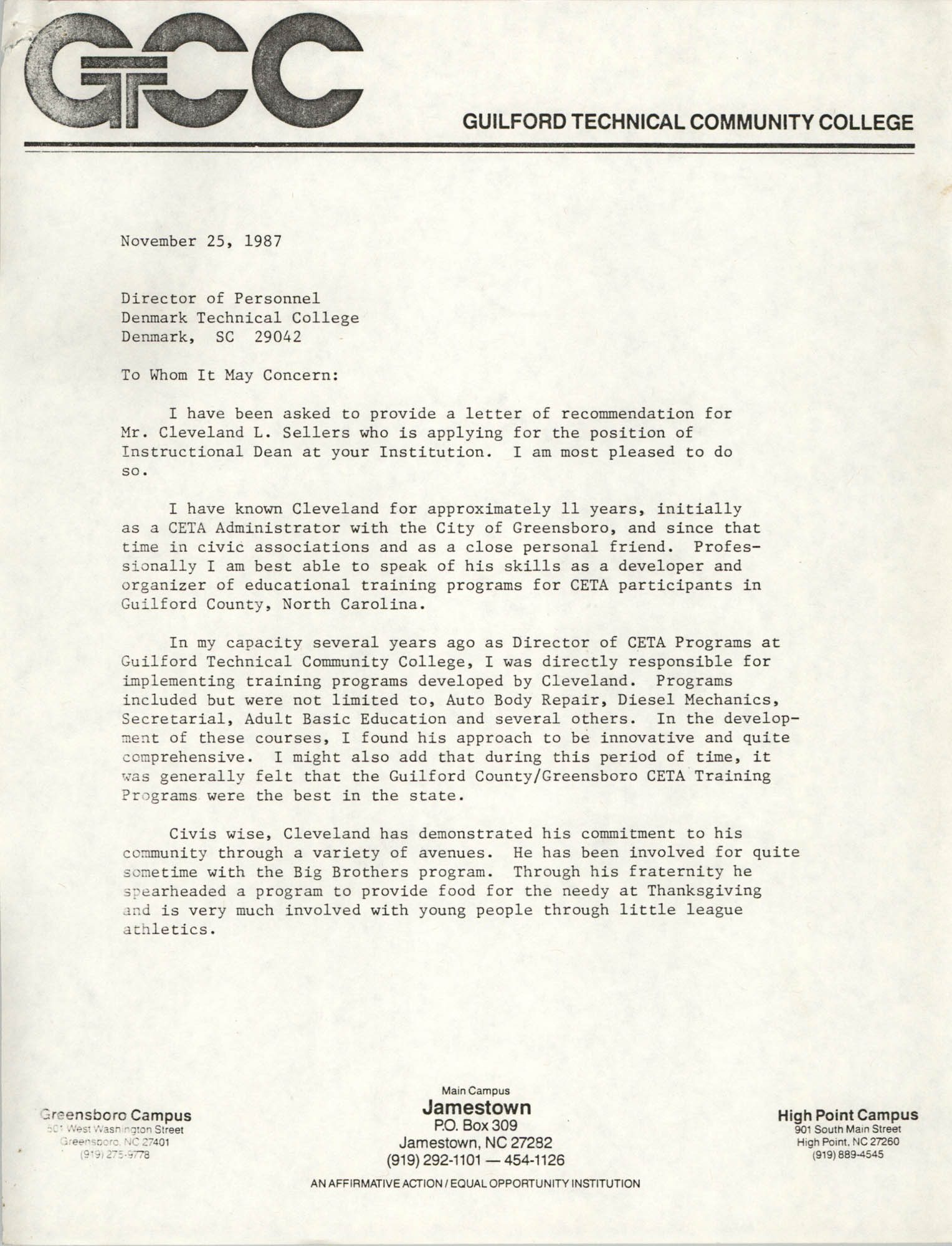Letter from John T. Clark to Director of Personnel at Denmark Technical College, November 25, 1987
