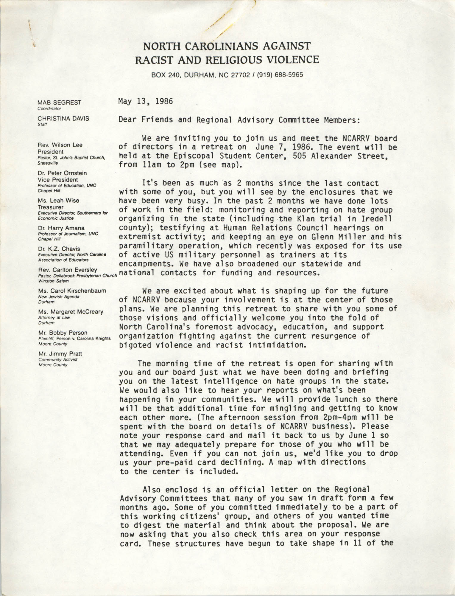 Letter from Mab Segrest and Chris Davis, May 13, 1986