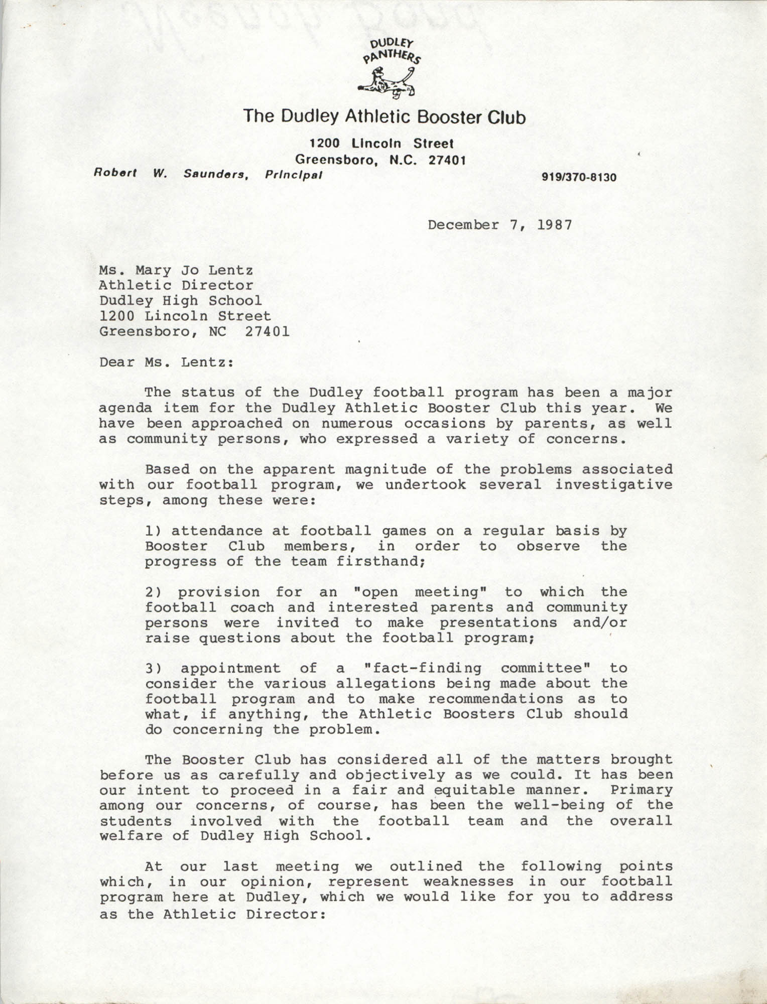 Letter from Cleveland Sellers to Mary Jo Lentz, December 7, 1987