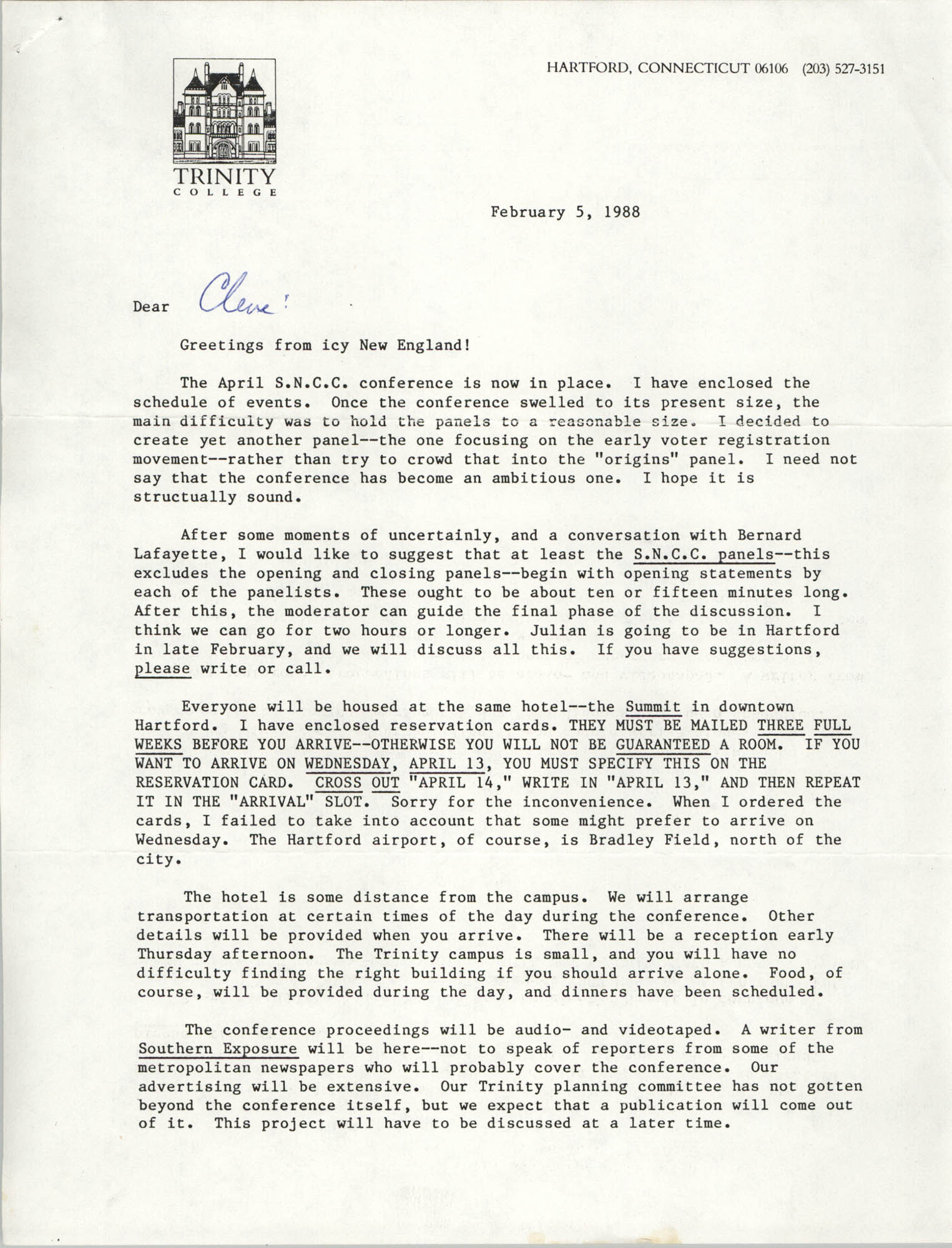 Letter from Jack Chatfield to Cleveland Sellers, February 5, 1988