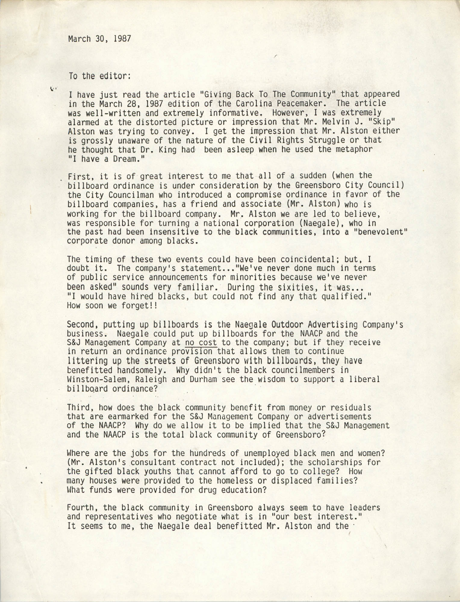 Letter from Malcolm Ross, March 30, 1987