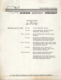 Tentative Schedule for Jesse Jackson