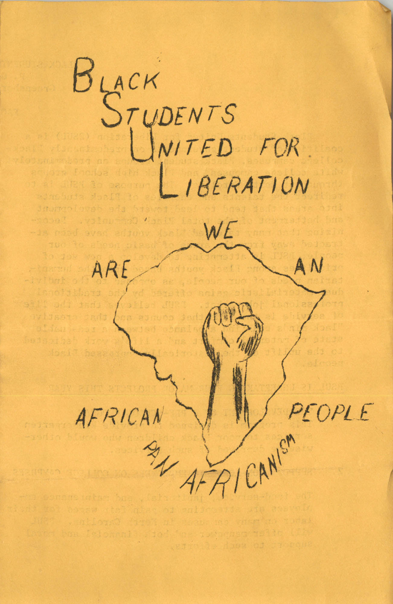 Black Students United for Liberation Fact Sheet and Staff, 1969-1970