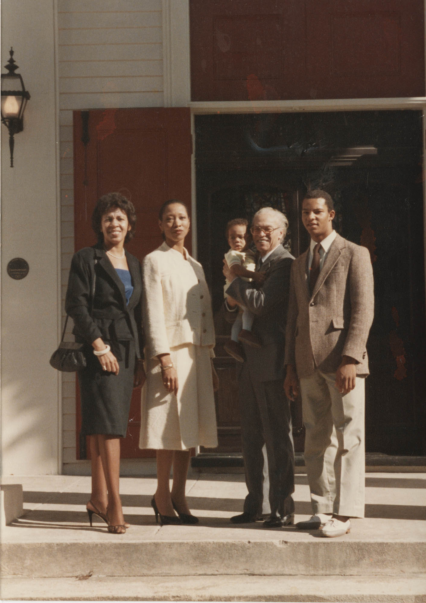 Photograph of Henrie Monteith Turner, Margaret Mills, Eugene Hunt, Gregory Brown, and Infant Akil Latey Lipscomb
