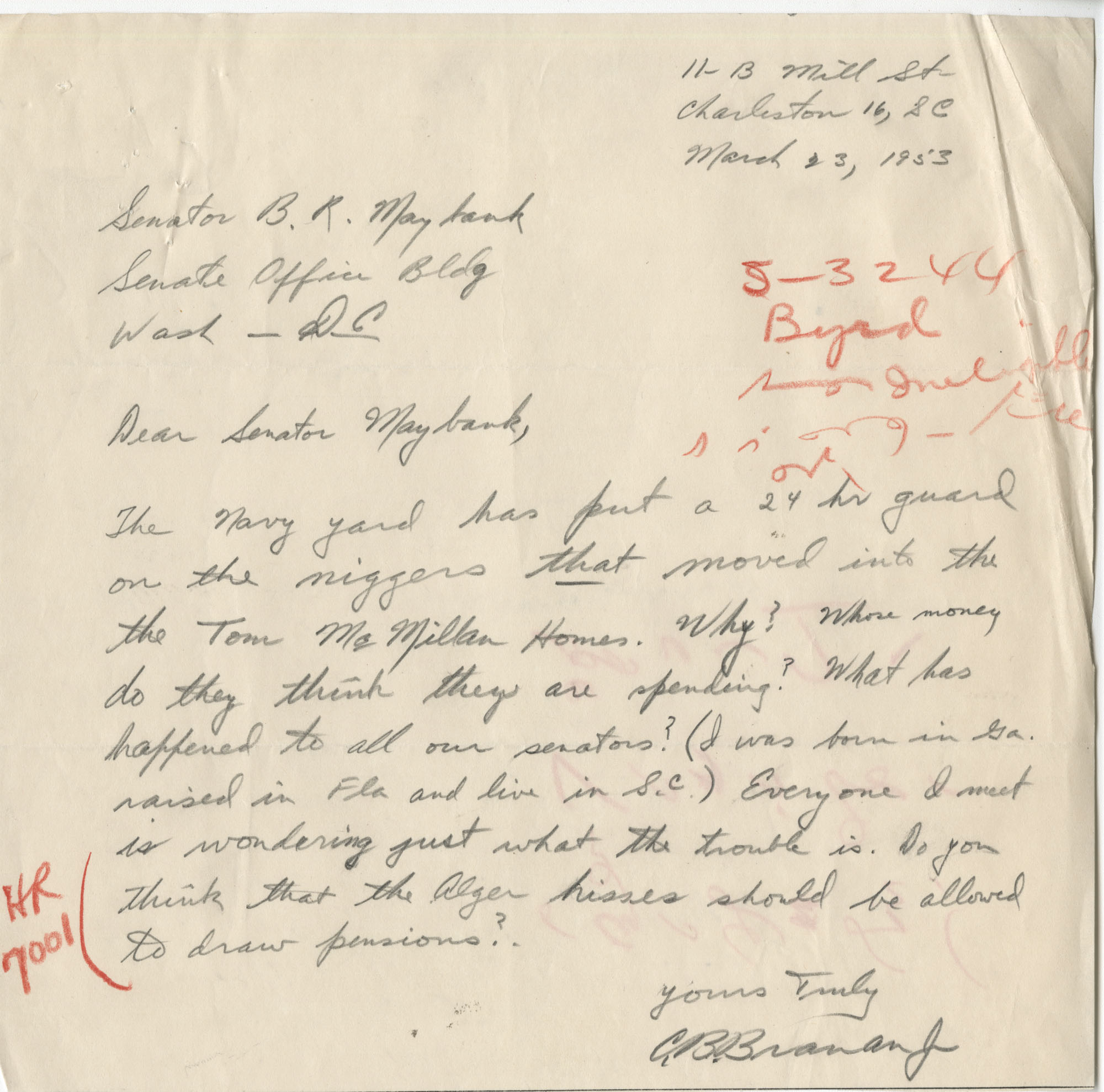 Segregation: Correspondence between C. B. Branan Jr. and Senator Burnet R. Maybank, March-April 1954
