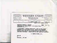 Western Union Telegram from Representative L. Mendel Rivers to Gordon M. Tiffany of the Commission on Civil Rights, September 5, 1959