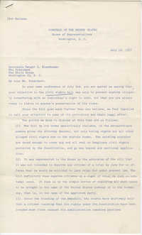 Letter from Members of the United States House of Representatives to President Dwight D. Eisenhower, July 12, 1957