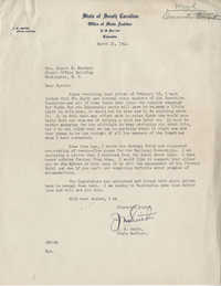 Democratic Committee: Letter from J. M. Smith (South Carolina State Auditor) to Burnet R. Maybank, March 21, 1944