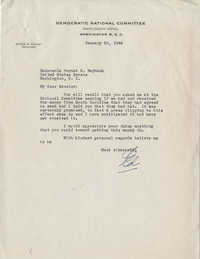 Democratic Committee: Correspondence Concerning the Raising of Funds from South Carolina for the National Democratic Party, January-February 1944