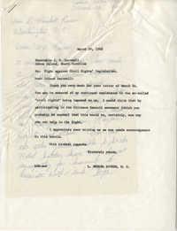 Correspondence between Representative J. W. Barnwell and Representative L. Mendel Rivers, March 26, 1960