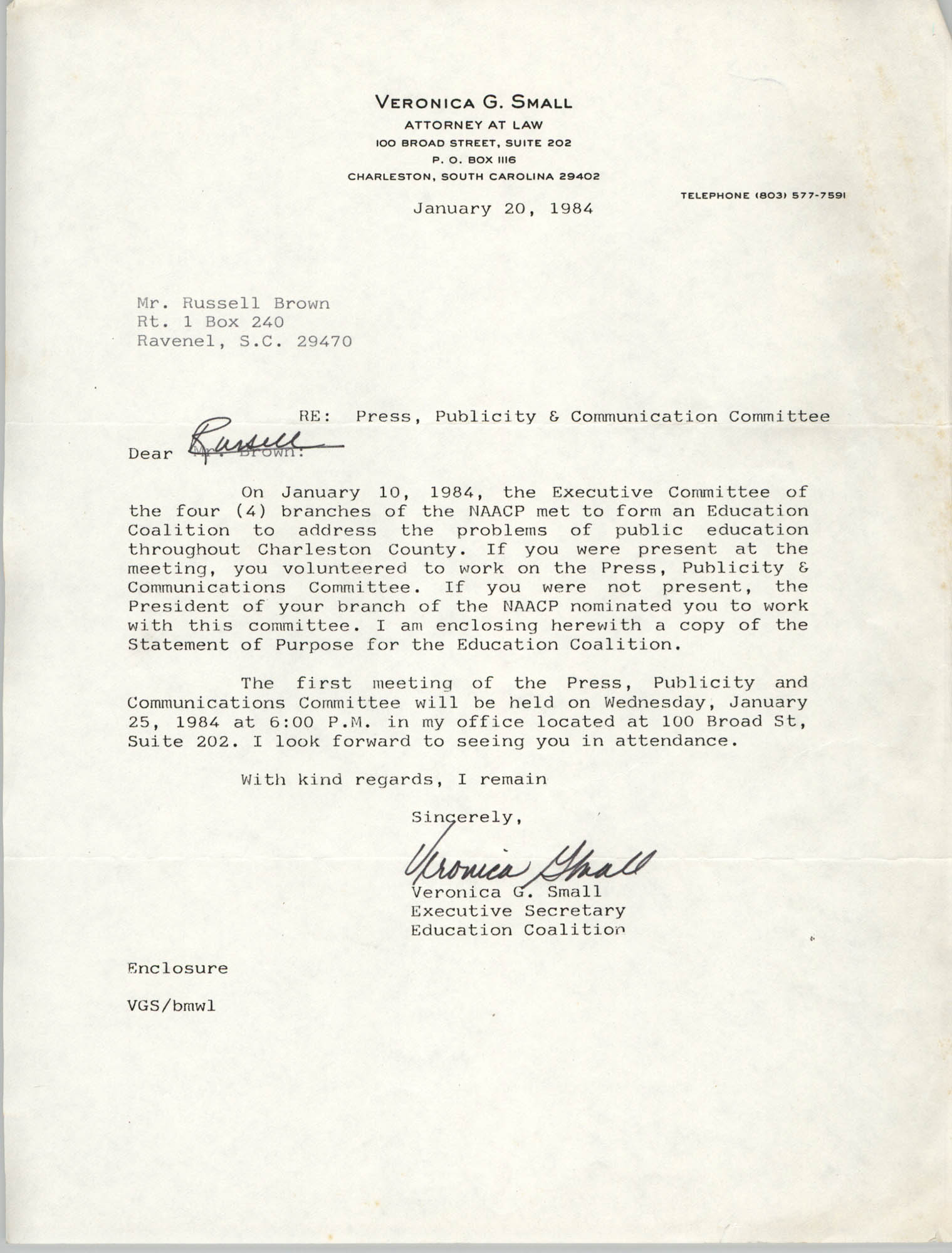 Letter from Veronica G. Small to Russell Brown, January 20, 1984