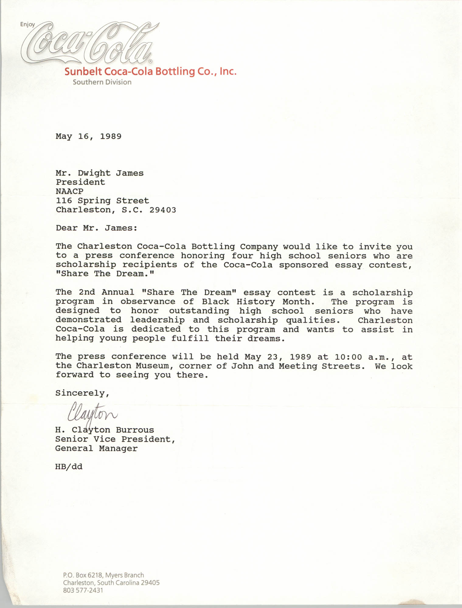 Letter from H. Clayton Burrous to Dwight James, May 16, 1989