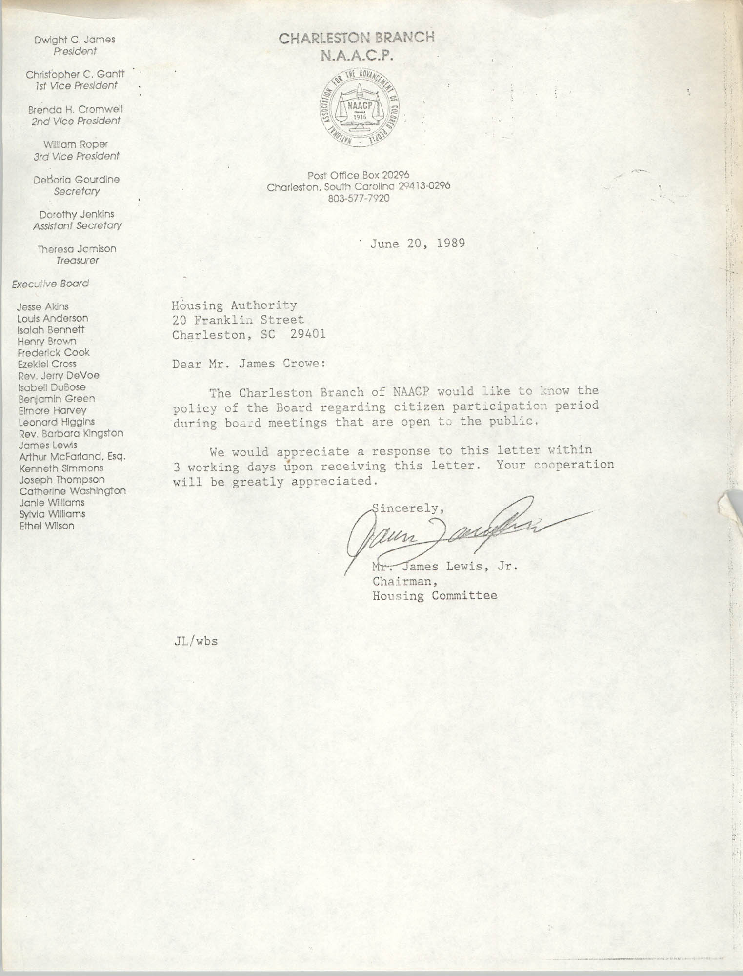 Letter from James Lewis, Jr. to James Crowe, June 20, 1989