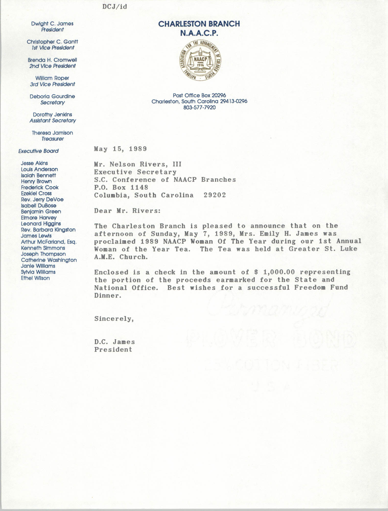 Letter from Dwight C. James to Nelson Rivers, III, May 15, 1989