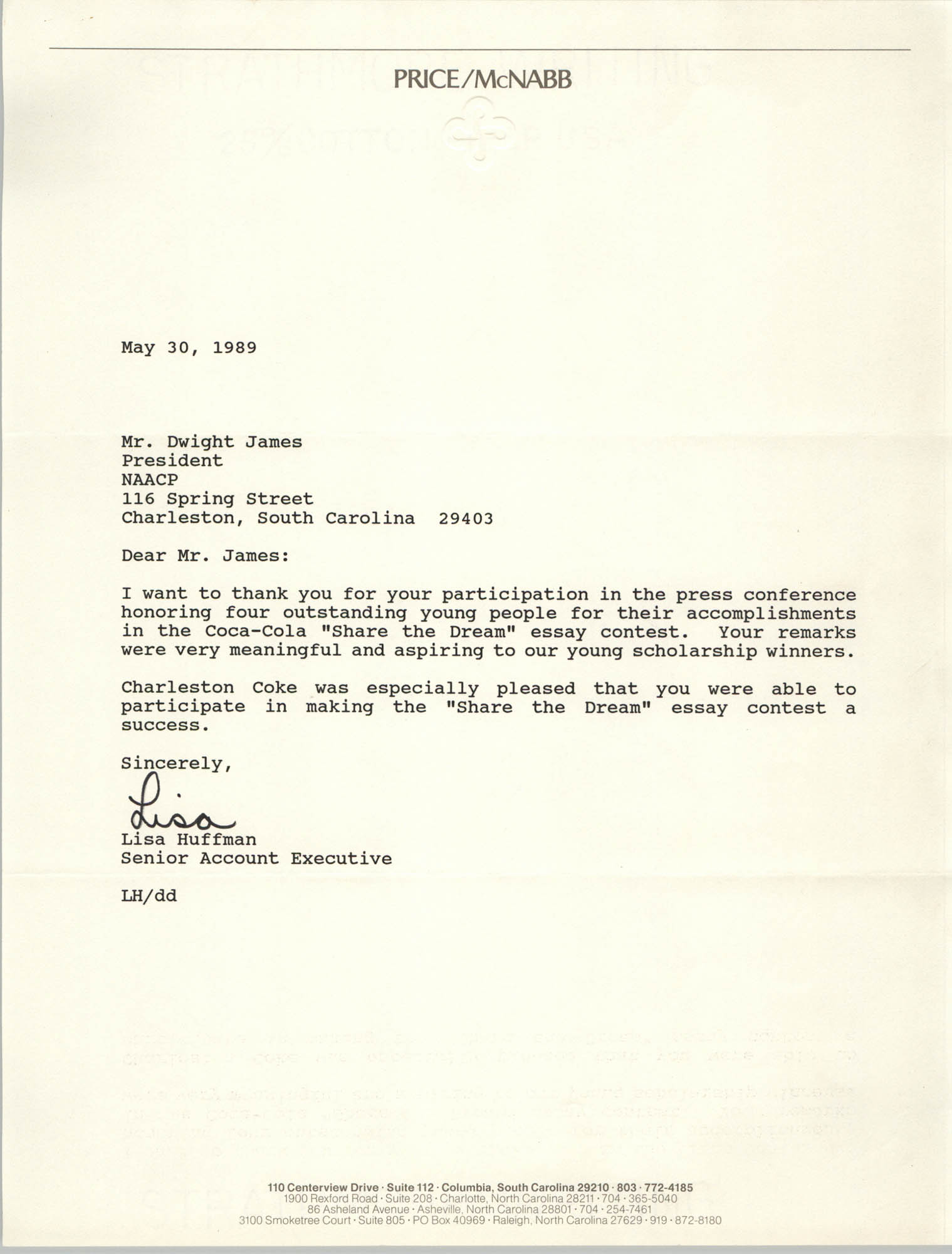 Letter from Lisa Huffman to Dwight James, May 30, 1989