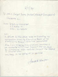 Letter from Joseph Thompson to Dwight James, June 7, 1989