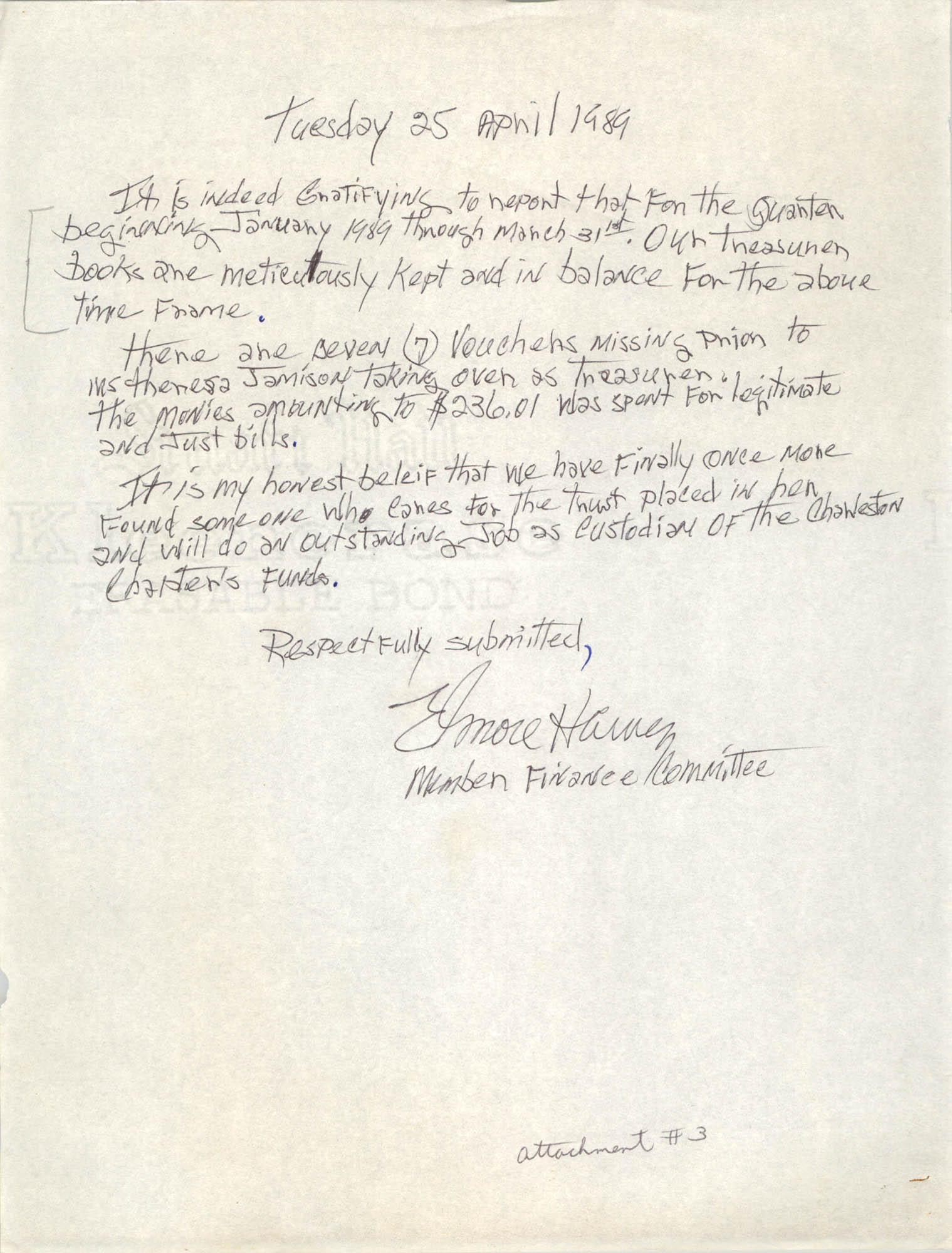 Letter from Elmore Harvey, April 25, 1989