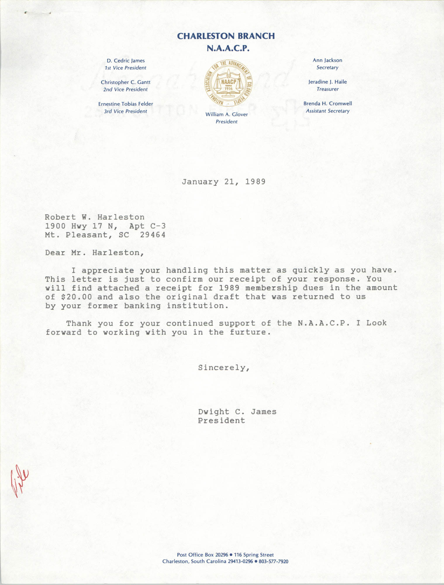 Letter from Dwight C. James to Robert W. Harleston, January 21, 1989