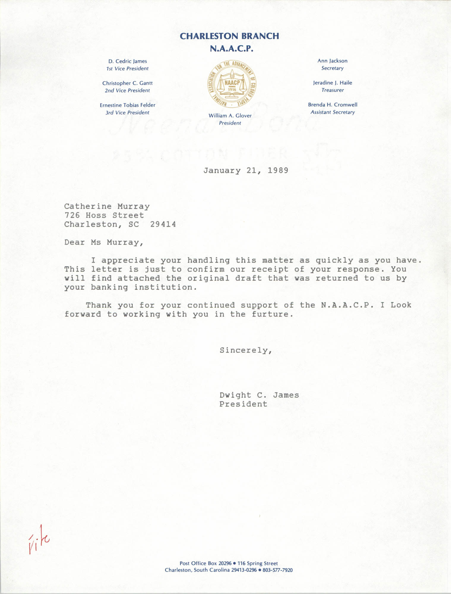 Letter from Dwight C. James to Catherine Murray, January 21, 1989