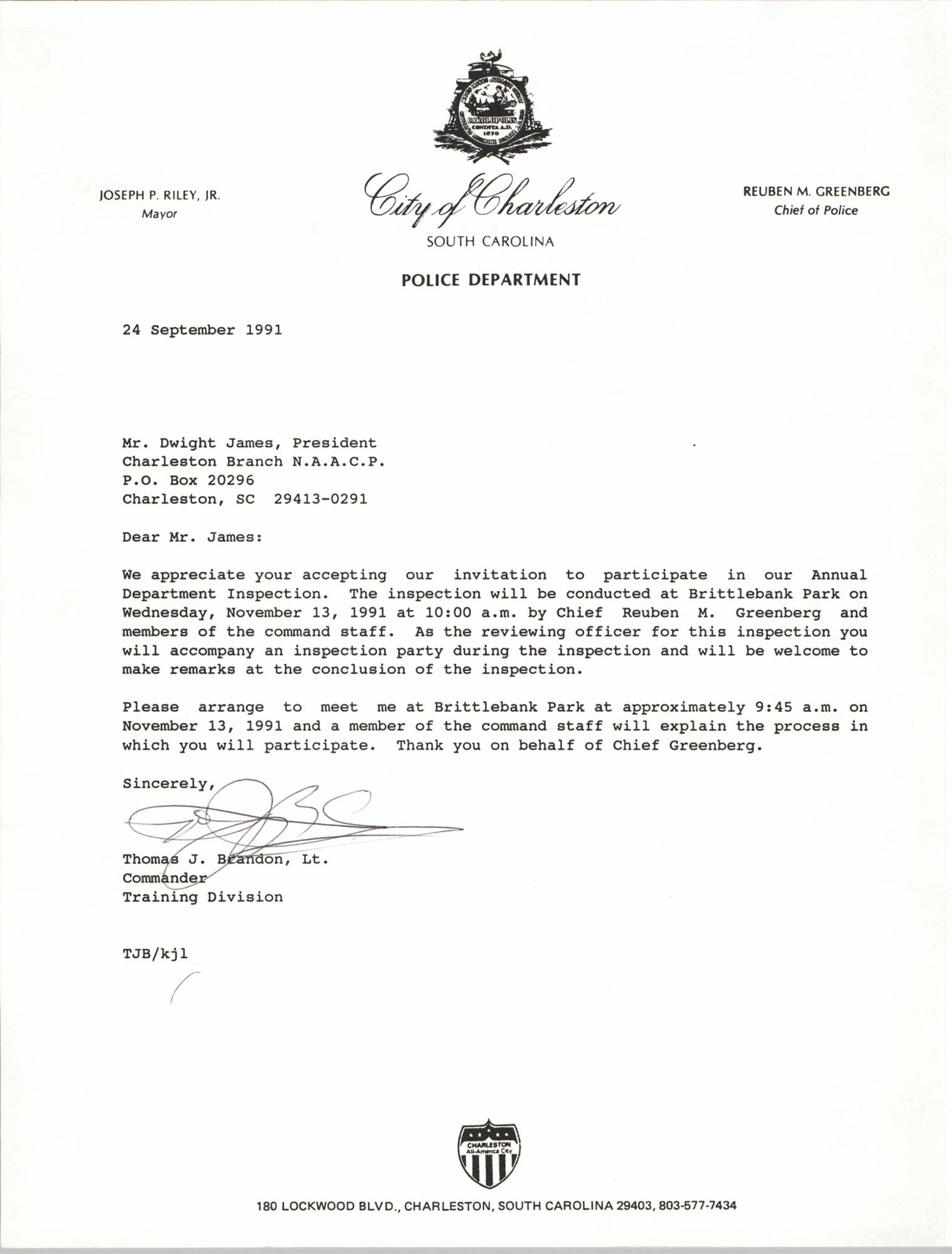 Letter from Thomas J. Brandon to Dwight James, September 24, 1991