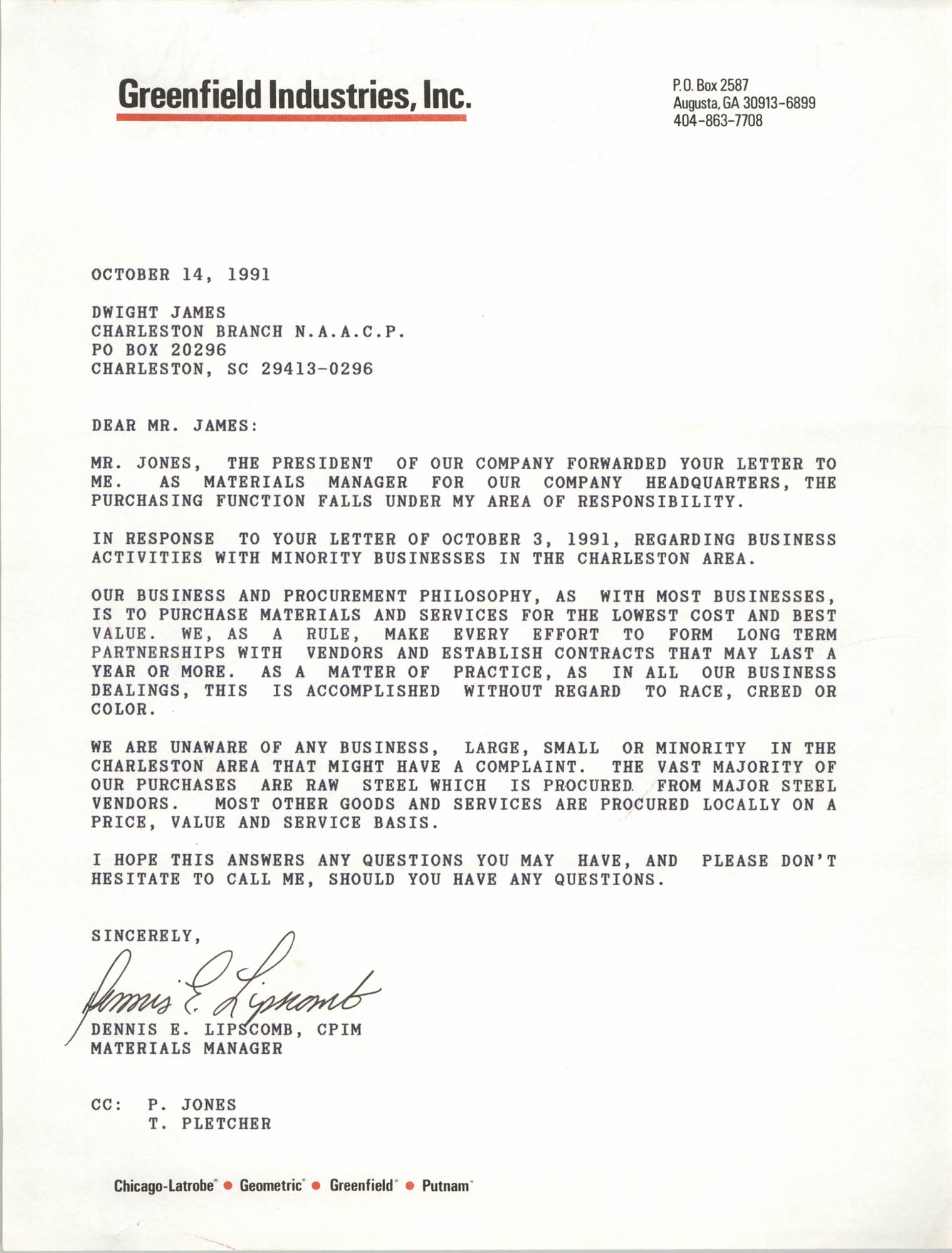 Letter from Dennis E. Lipscomb to Dwight James, October 14, 1991