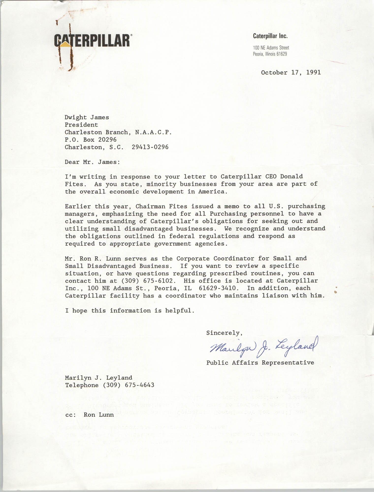 Letter from Marilyn J. Leyland to Dwight James, October 17, 1991