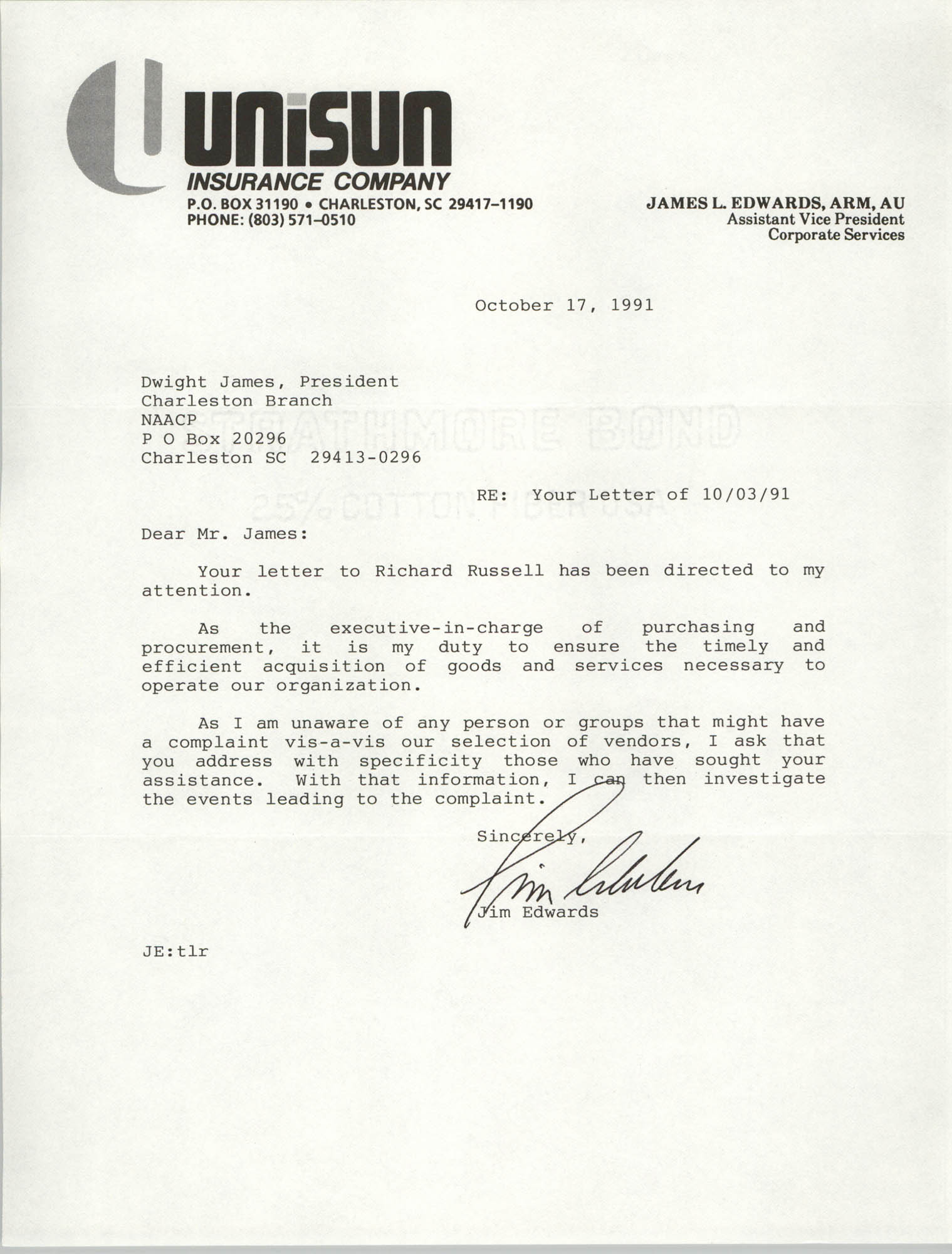Letter from James Edwards to Dwight James, October 17, 1991