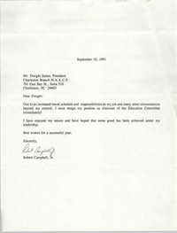 Letter from Robert Campbell, Jr. to Dwight James, September 10, 1991