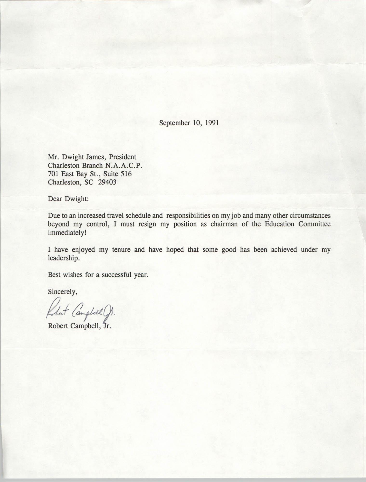 Letter from Robert Campbell, Jr. to Dwight James, September 10, 1991