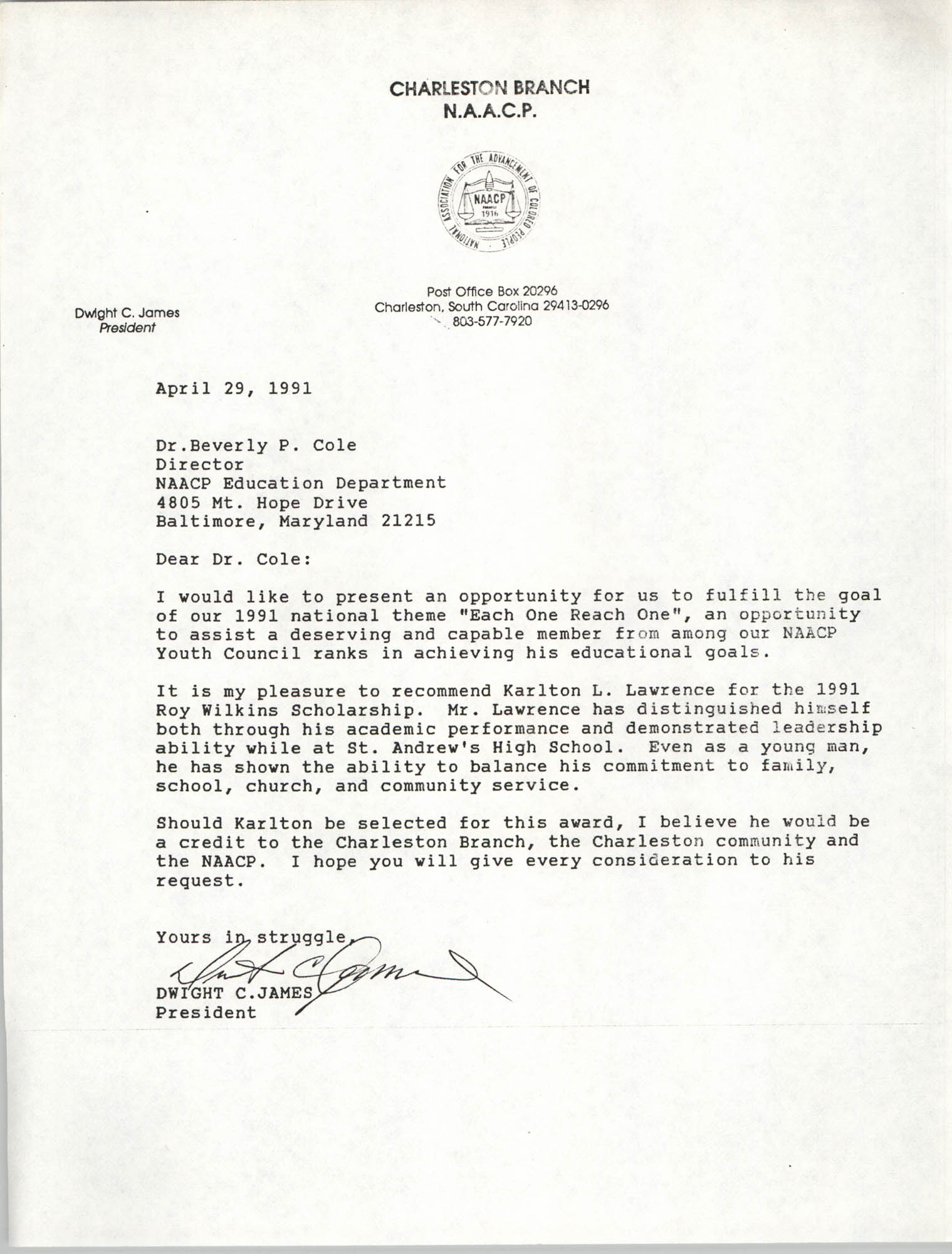 Letter from Dwight C. James to Beverly P. Cole, April 29, 1991