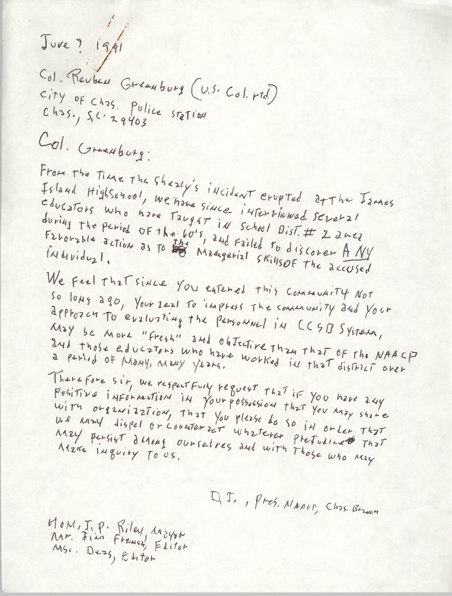 Letter from Dwight James to Reuben Greenburg, June 9, 1991