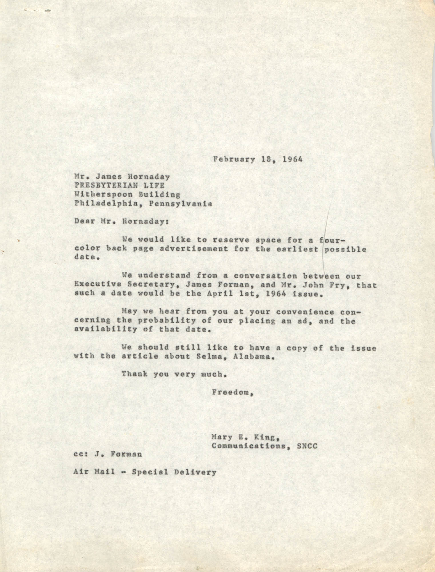 Letter from Mary E. King to James Hornaday, February 18, 1964