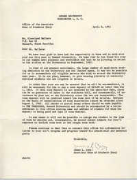 Letter from James L. Cary to Cleveland Sellers, April 8, 1963