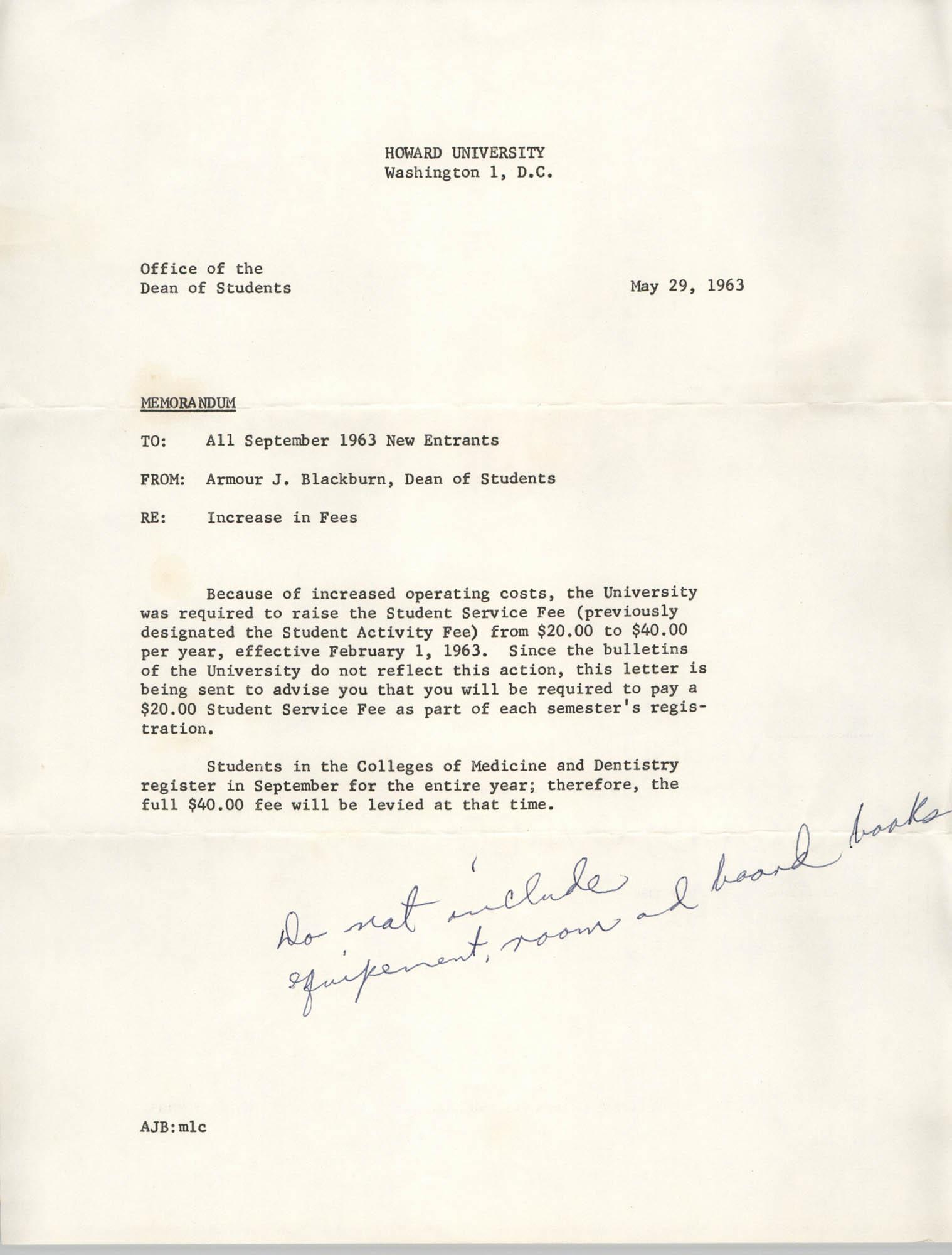 Howard University Memorandum, May 29, 1963