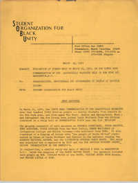 Student Organization for Black Unity Memorandum, March 23, 1970