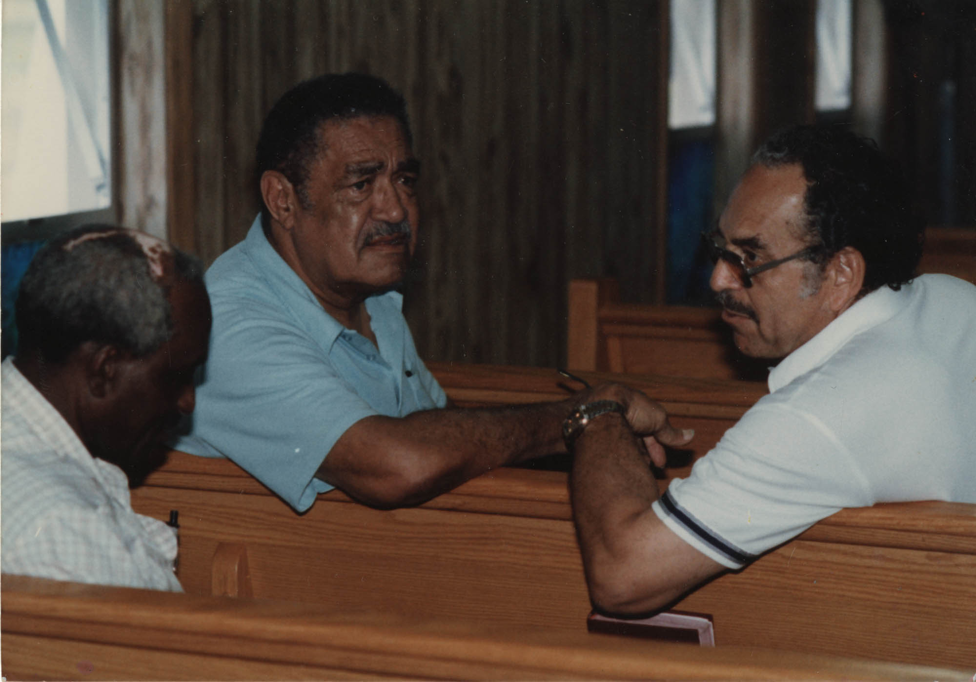 Photograph of J. Arthur Brown and Two Unidentified Men Sitting in Church Pews