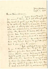 Letter from C.C. Tseng to Laura M. Bragg, September 1, 1928