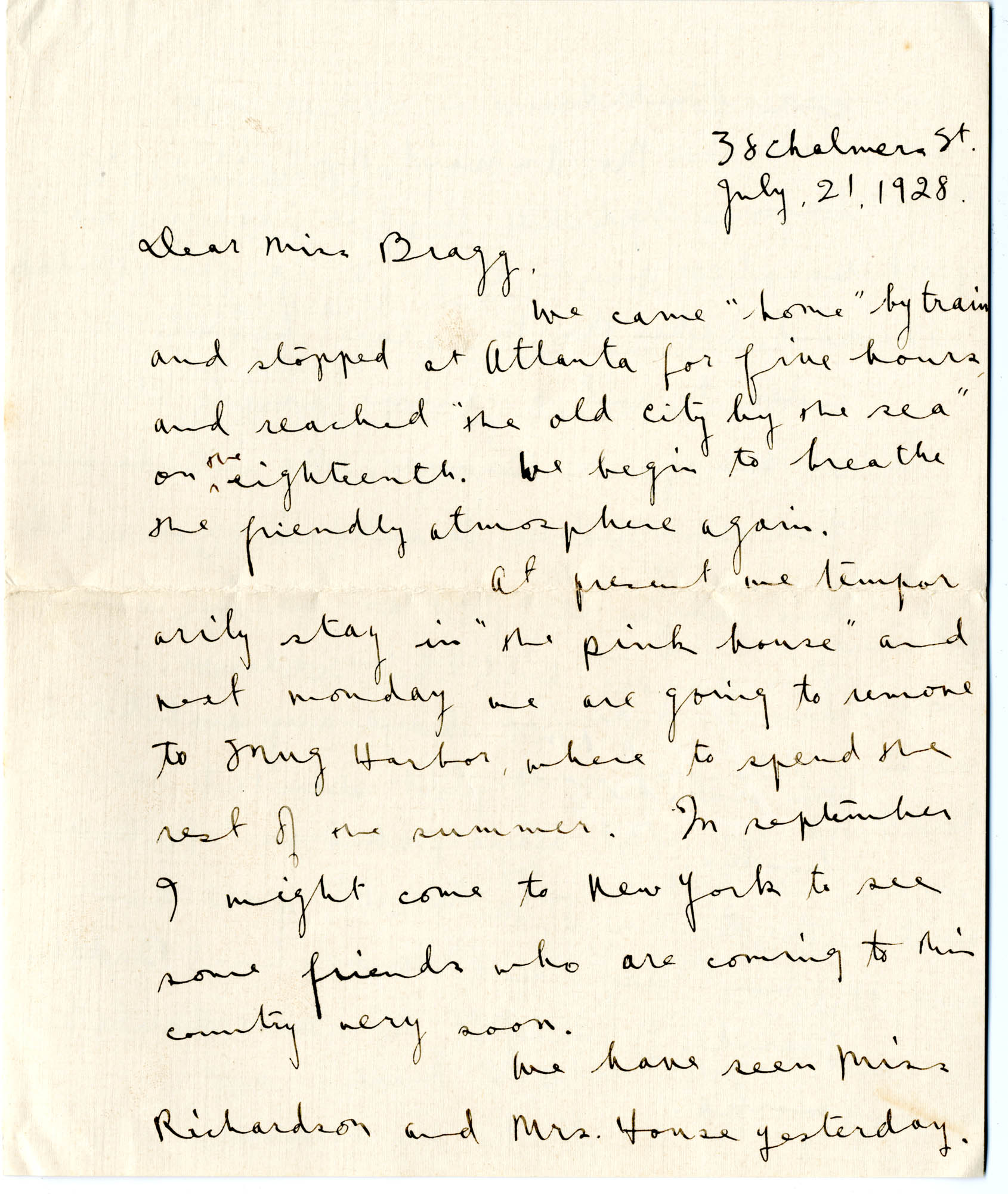 Letter from C.C. Tseng to Laura M. Bragg, July 21, 1928