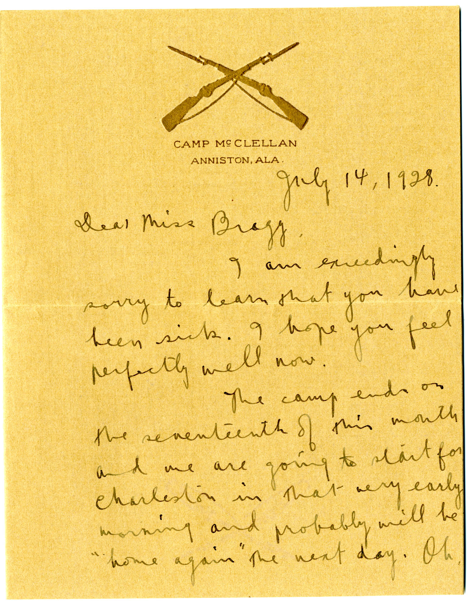 Letter from C.C. Tseng to Laura M. Bragg, July 14, 1928