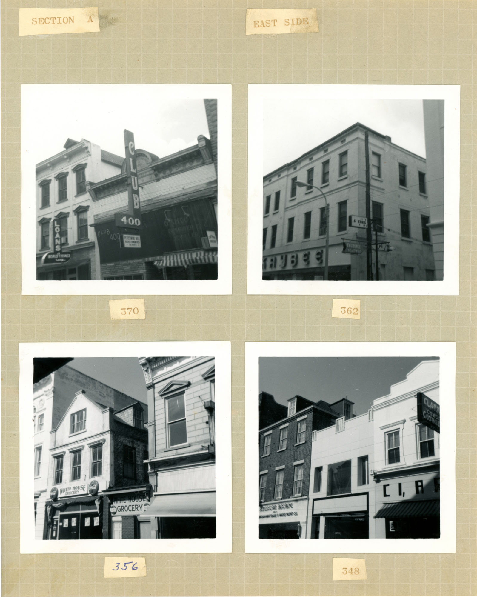 King Street Survey Photo Album, Page 11 (back): 344-370 King Street