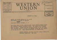 Democratic Committee: Telegram from Robert Ramspeck (Chairman of the Speakers Bureau of the Democratic National Committee) to Senator Burnet R. Maybank, October 17, 1944