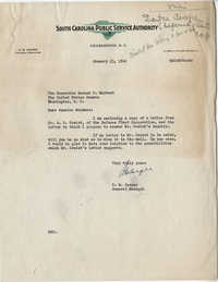 Santee-Cooper: Letter from Robert M. Cooper (General Manager of the South Carolina Public Service Authority) to Senator Burnet R. Maybank, January 23, 1942