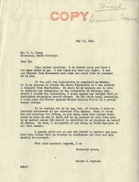 Democratic Committee: Letter from Senator Burnet R. Maybank to C. A. Young, May 13, 1944