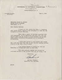 Democratic Committee: Letter from Ambrose O'Connell (Executive Vice Chairman of the Democratic National Committee) to Senator Burnet R. Maybank, June 4, 1944