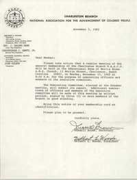 Letter from Russell Brown and Delbert L. Woods to Charleston Branch of the NAACP Members, November 5, 1982